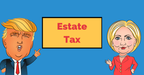 Animation of Trump and Clinton with Estate Tax Sign inbetween